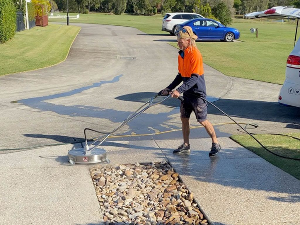 Cleaning specialist pressure washing flooring
