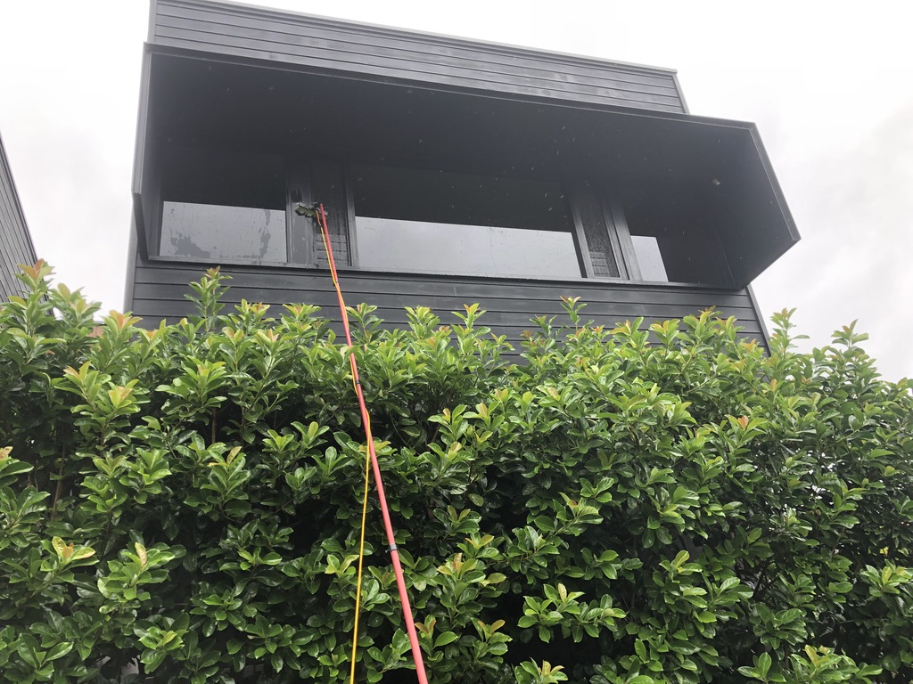 Cleaning glass windows on the second floor using a long window cleaning tool