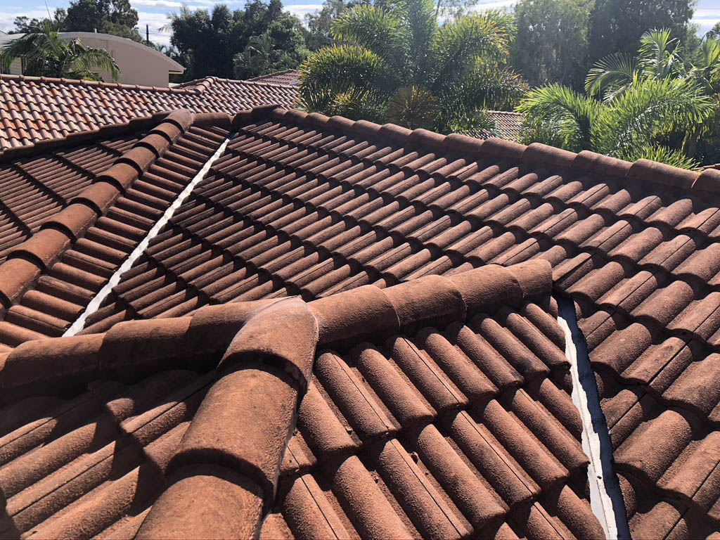 Dirty clay roofing that needs roof cleaning